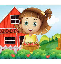 A girl harvesting at the strawberry farm vector