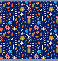 abstract meadow flowers on dark blue pattern vector image