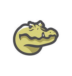 Aligator green reptile icon cartoon vector