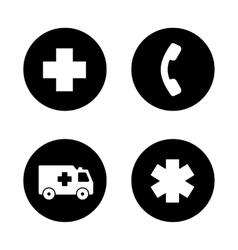 Ambulance black icons set vector
