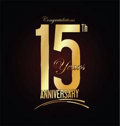 Anniversary golden sign 15 years vector