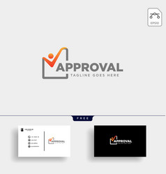 approval check checking logo template vector image