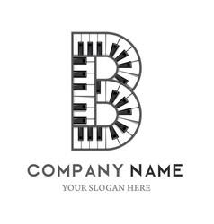 B letter logo design piano keyboard logo vector