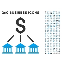 Bank Organization Icon with Flat Set vector
