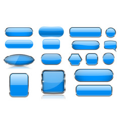 blue glass buttons collection of 3d icons with vector image