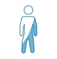 Blue line pictogram man silhouette over white vector