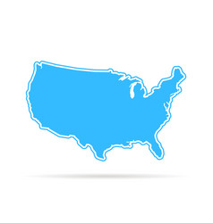 blue outline usa map with shadow vector image