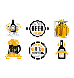 brewery craft beer retro labels set best recipe vector image