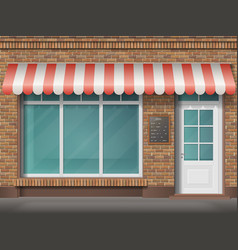 Brick shop facade awning vector