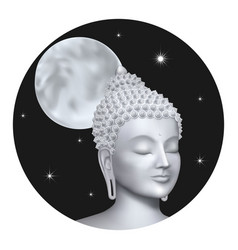 Buddha face with moon on night background sky vector