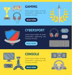 cartoon cyber sport banner horizontal set vector image