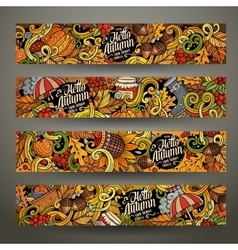 Cartoon hand drawn doodles Autumn banners vector