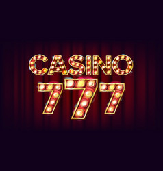 Casino 777 banner casino vintage style vector