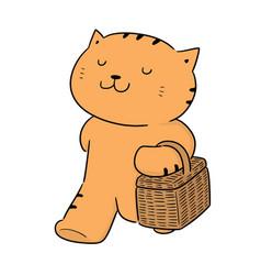 Cat and wicker basket vector