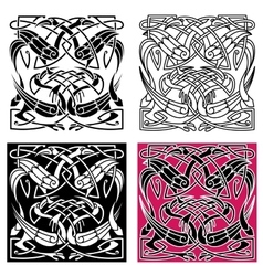 Celtic knot pattern with heron birds vector
