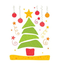 Cheerful christmas tree vector