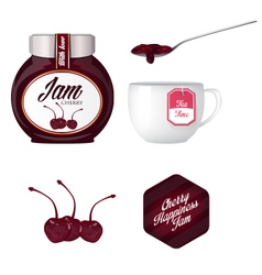 Cherry jam and a cup of tea vector image