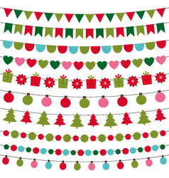 Christmas lights and decoration set vector image