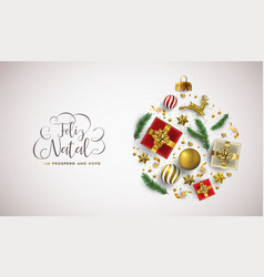 christmas new year portuguese card gold xmas ball vector image