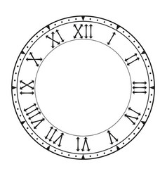 Clock face black blank with roman numerals vector