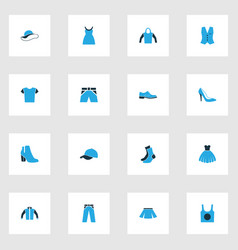 Clothes colorful icons set collection of cap vector
