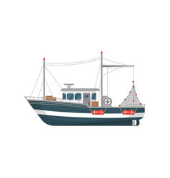 Commercial fishing vessel side view icon vector