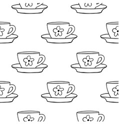 cups mug flower pattern seamless tile vector image