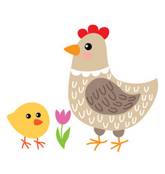 cute cartoon hen and chicken vector image