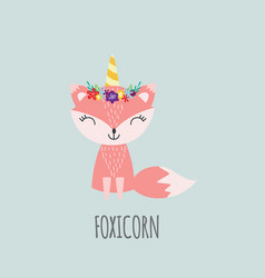 Cute pink unicorn fox with flower crown and vector