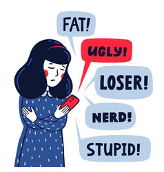 cyber bulling concept sad girl reading vector image