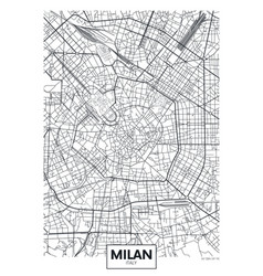 Detailed poster city map milan vector