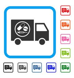 Drugstore truck framed icon vector