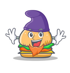 Elf burger character fast food vector