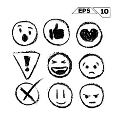Emojis and icons hand drawn isolated on white vector