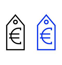Euro tag icon vector