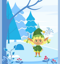 eve hero in snowy forest winter holiday vector image