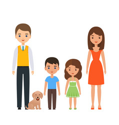 family characters with children cartoon portrait vector image