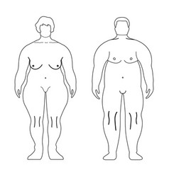 Fat european women and man outline style human vector