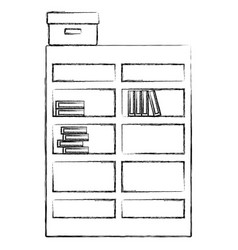 figure bookcase with books inside and box archive vector image