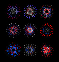 fireworks salute in traditional colors usa set of vector image