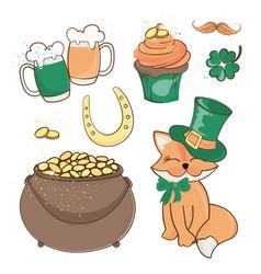 fox treasure saint patrick day cartoon vector image