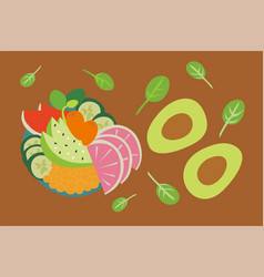 Fruits and vegetables - healthy and organic food vector