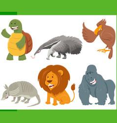 Funny cartoon animal characters set vector