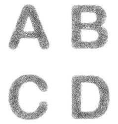 Furry sketch font set - letters A B C D vector