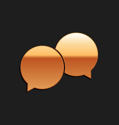 Gold blank speech bubbles icon isolated on black vector