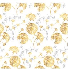 gold geometric dandelion flowers on white vector image