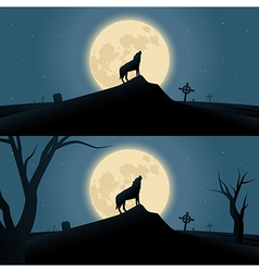 Halloween background with howling werewolf vector