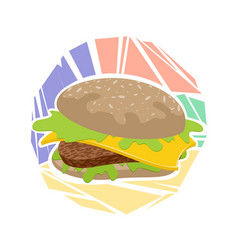 hamburger on a colored background vector image