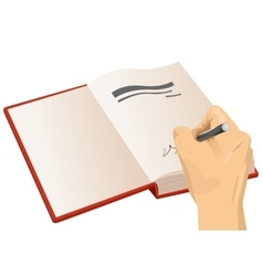 hand signing the first page of a hardcover vector image