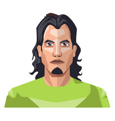 handsome man with a long black hair and small vector image